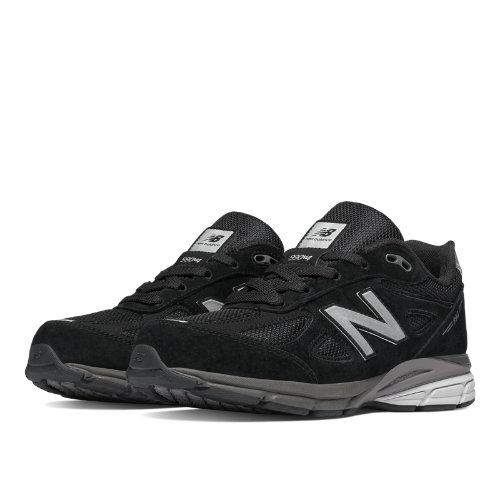 New Balance 990v4 Kids Grade School Running Shoes - Black (KJ990BSG)