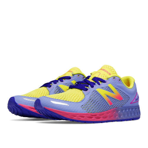 New Balance Fresh Foam Zante v2 Kids Grade School Running Shoes - Purple / Yellow (KJZNTYPY)