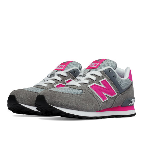 New Balance 574 Kids Pre-School Lifestyle Shoes - Grey / Pink (KL574CDP)