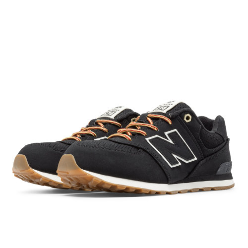 New Balance 574 Heritage Sport Kids Pre-School Lifestyle Shoes - Black (KL574HAP)