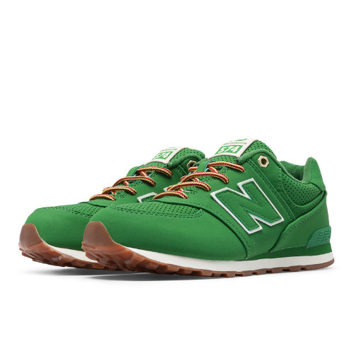 New Balance 574 Heritage Sport Kids Pre-School Lifestyle Shoes - Green (KL574HEP)