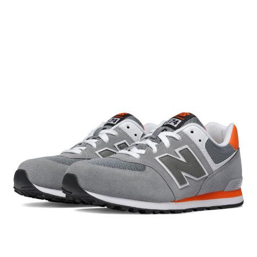 New Balance 574 Kids Grade School Lifestyle Shoes - Grey / Orange (KL574P1G)