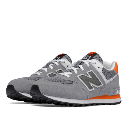 New Balance 574 Kids Pre-School Lifestyle Shoes - Grey / Orange (KL574P1P)