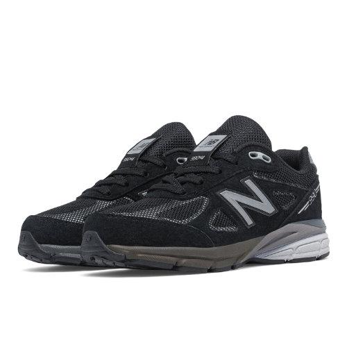 New Balance Reflective 990v4 Kids Grade School Running Shoes - Black / Silver (KL990L1G)