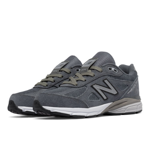 New Balance Reflective 990v4 Kids Pre-School Running Shoes - Grey / Silver (KL990L2P)