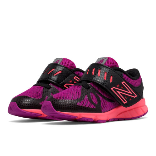 New Balance Hook and Loop 200 Kids Infant Running Shoes - Black / Pink (KV200RBI)