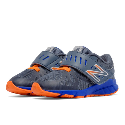 New Balance Hook and Loop 200 Kids Infant Running Shoes - Grey / Orange (KV200ROI)