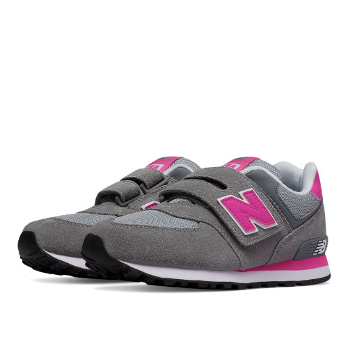 New Balance 574 Hook and Loop Kids Grade School Lifestyle Shoes - Grey / Pink (KV574CDY)