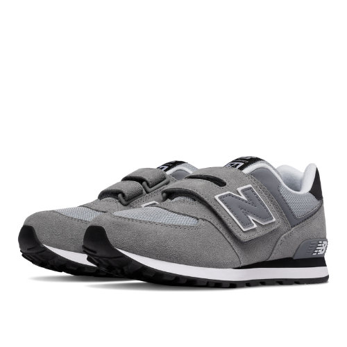 New Balance 574 Hook and Loop Kids Grade School Lifestyle Shoes - Grey / Black (KV574CIY)