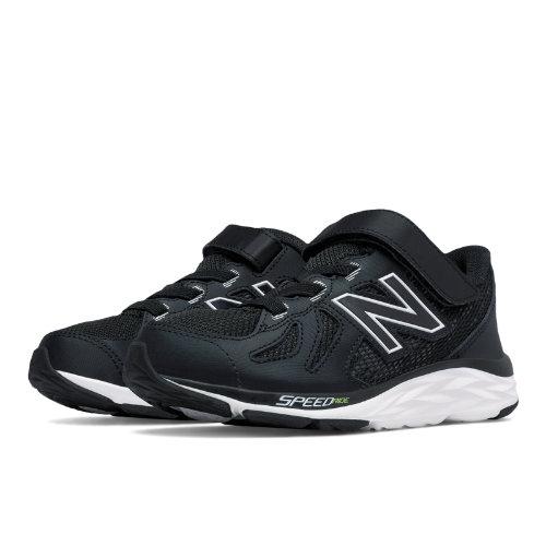 New Balance Hook and Loop 790v6 Kids Pre-School Running Shoes - Black / White (KV790BKP)
