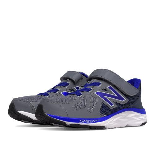 New Balance Hook and Loop 790v6 Kids Pre-School Running Shoes - Grey / Blue (KV790GMP)