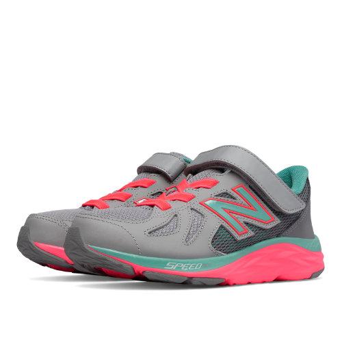New Balance Hook and Loop 790v6 Kids Pre-School Running Shoes - Grey / Green / Pink (KV790GNP)