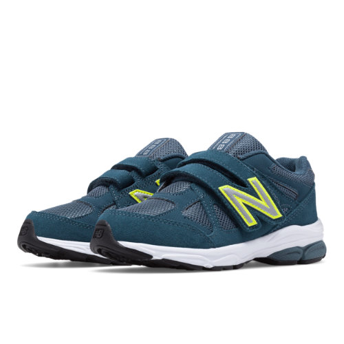 New Balance Hook and Loop 888 Kids Pre-School Running Shoes - Navy / Yellow (KV888BOP)