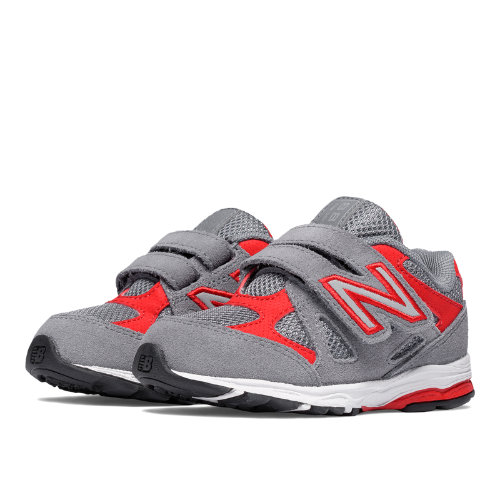 New Balance Hook and Loop 888 Kids Infant Running Shoes - Grey / Red (KV888GRI)