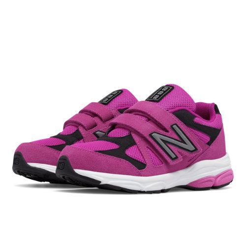New Balance Hook and Loop 888 Kids Pre-School Running Shoes - Pink / Black (KV888PBP)