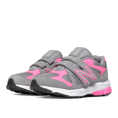 New Balance Hook and Loop 888 Kids Pre-School Running Shoes - Grey / Pink (KV888PKP)