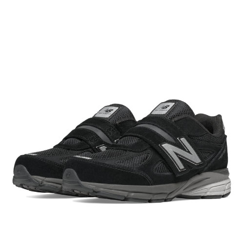 New Balance Hook and Loop 990v4 Kids Pre-School Running Shoes - Black (KV990BSP)