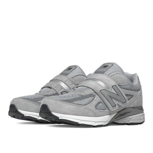 New Balance Hook and Loop 990v4 Kids Pre-School Running Shoes - Grey (KV990GLP)
