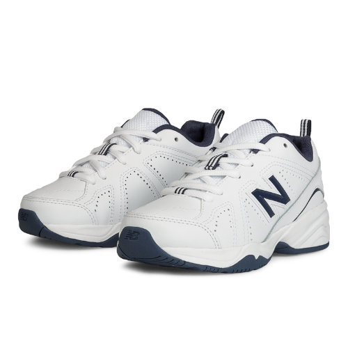New Balance 624v2 Kids Grade School Cross-Training Shoes - White / Navy (KX624NWY)