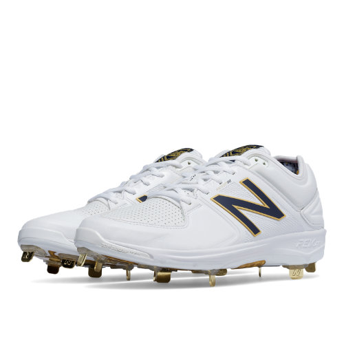 New Balance Low-Cut 3000v3 Admiral Pack Metal Cleat Men's Shoes - White / Navy (L3000AS3)