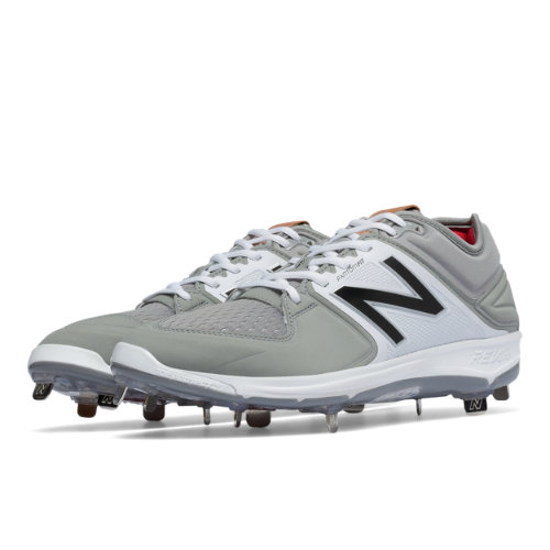New Balance Low-Cut 3000v3 Metal Cleat Men's Shoes - Grey / White (L3000GW3)