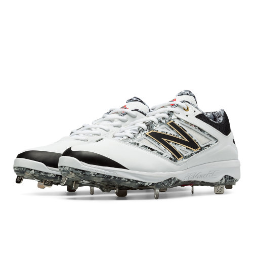 New Balance Pedroia Low-Cut 4040v3 Metal Cleat Men's Low-Cut Cleats Shoes - White, Grey, Light Grey (L4040PW3)