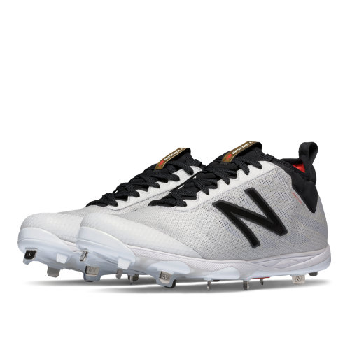 New Balance Low-Cut 406 Metal Cleat Men's Low-Cut Cleats Shoes - White / Black (L406WC1)