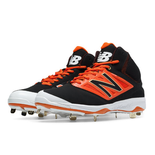 New Balance Mid-Cut 4040v3 Metal Cleat Men's Mid-Cut Cleats Shoes - Black, Orange (M4040BO3)