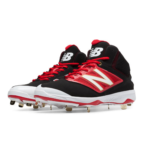 New Balance Mid-Cut 4040v3 Metal Cleat Men's Mid-Cut Cleats Shoes - Black, Red (M4040BR3)