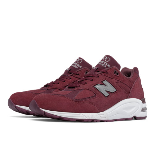 New Balance 990v2 Made in the USA Bringback Suede Men's Made in USA Shoes - Red / Silver (M990CIT2)