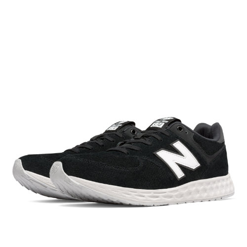 New Balance 574 Fresh Foam Suede Men's Sport Style Sneakers Shoes - Black / White (MFL574FC)