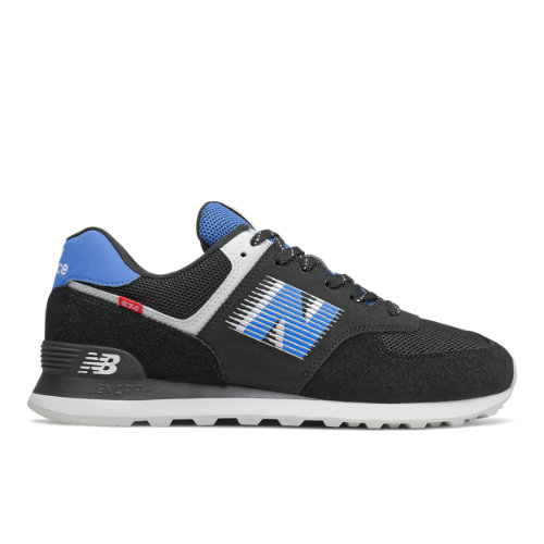 New Balance 574 Men's Running Classics Shoes - Black / Blue (ML574PDA)