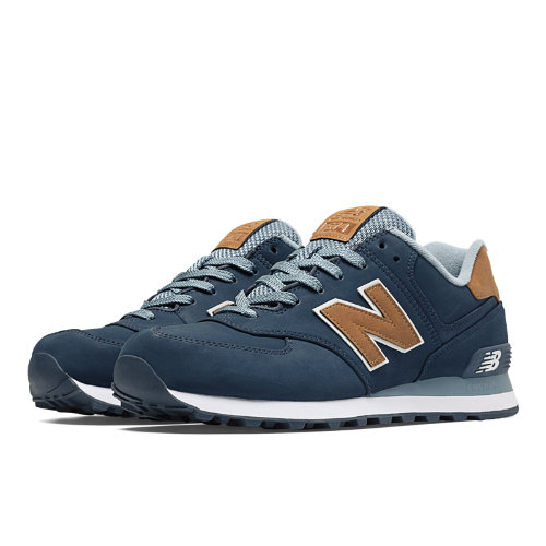 New Balance 574 Lux Men's 574 Shoes - Navy / Tan (ML574SLB)