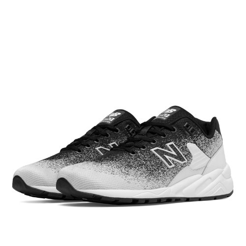 New Balance 580 Re-Engineered Textile Men's Sport Style Sneakers Shoes - Black / White (MRT580JR)