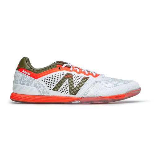 9483f2e6e New Balance Audazo Pro IN Men s Indoor Soccer Shoes - White   Orange  (MSAUDIWO)