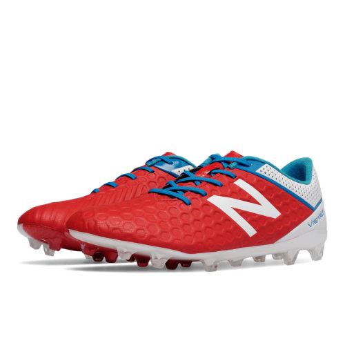 New Balance Visaro Mid Level FG Men's Soccer Shoes - Red / White / Blue (MSVRLFAW)