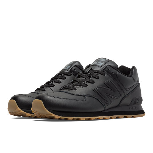 New Balance 574 Leather Men's 574 Shoes - Black (NB574BAB)