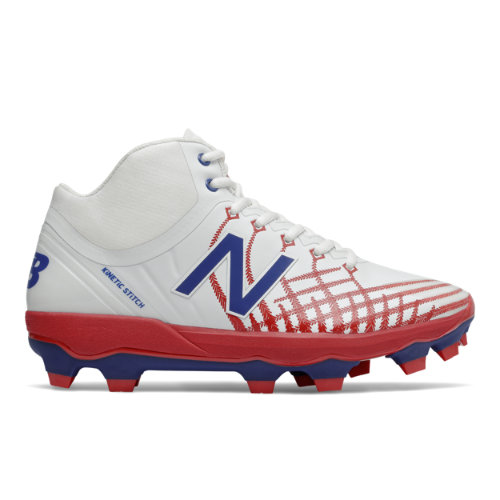 New Balance 4040v5 Men's Cleats and Turf Baseball Shoes - White / Red / Navy (PM4040PR)