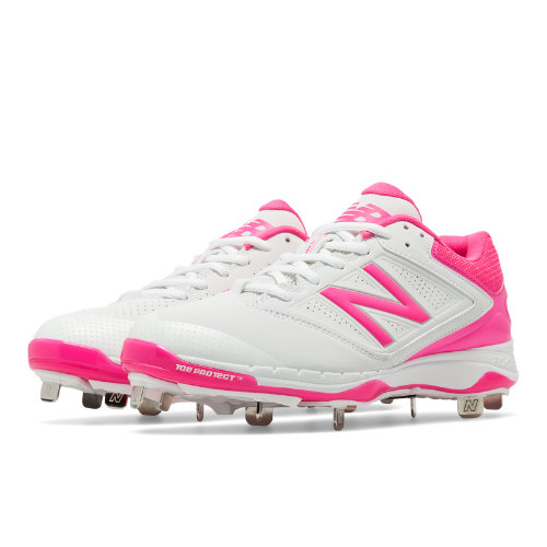 New Balance Low-Cut 4040v1 Pink Ribbon Metal Cleat Women's Softball Shoes - White / Pink (SM4040P1)