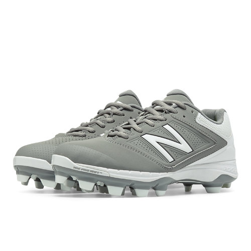 New Balance Low Cut 4040v1 Plastic Cleat Women's Fastpitch Shoes - Grey, White (SP4040G1)