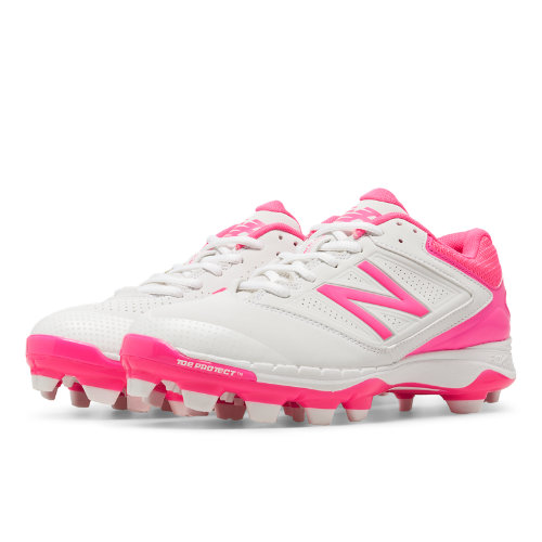 New Balance Low-Cut 4040v1 Pink Ribbon Plastic Cleat Women's Softball Shoes - White / Pink (SP4040P1)