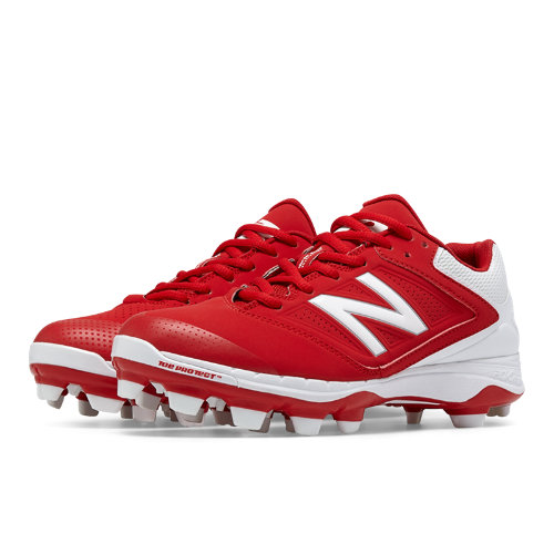 New Balance Low Cut 4040v1 Plastic Cleat Women's Fastpitch Shoes - Red, White (SP4040R1)