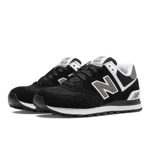 New Balance 574 WoMen's Shoes - Black, White (W574SKW)