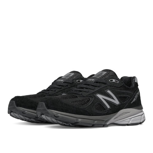 New Balance 990v4 Women's Everyday Running Shoes - Black / Silver (W990BK4)