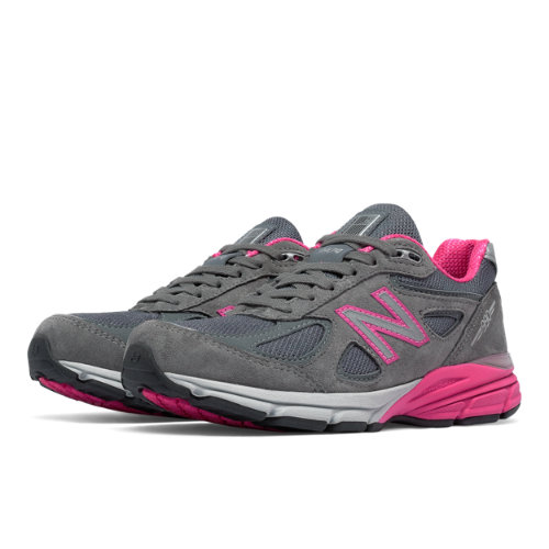 New Balance 990v4 Women's Everyday Running Shoes - Grey / Pink (W990GP4)