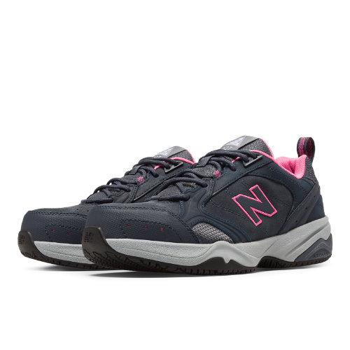 New Balance Steel Toe 627 Suede Women's Work Shoes - Dark Grey, Pink (WID627GF)