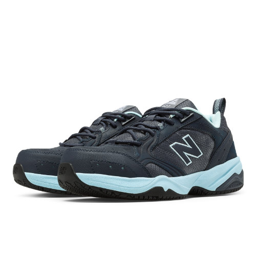 New Balance Steel Toe 627 Suede Women's Work Shoes - Dark Grey, Light Blue (WID627GL)