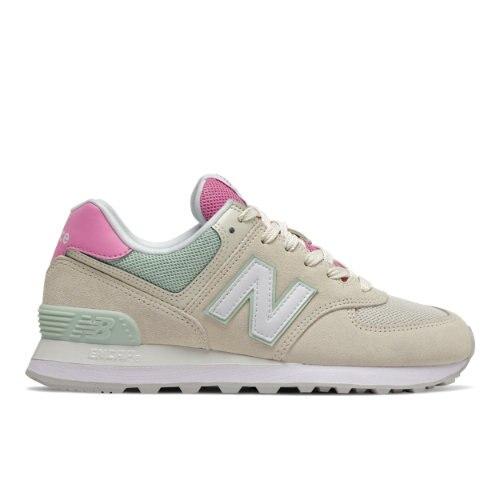 New Balance 574 Women's Lifestyle Shoes - Off White / Pink (WL574SAO)