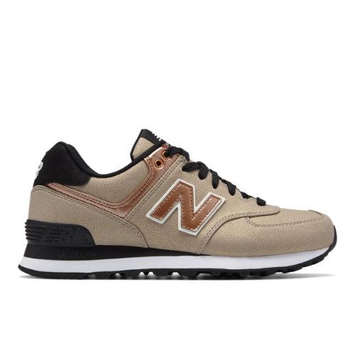 New Balance 574 Seasonal Shimmer Women's 574 Sneakers Shoes - Brown / Gold (WL574SFF)