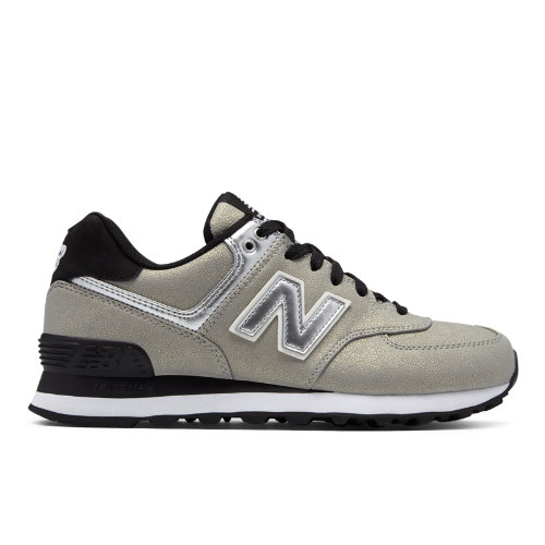 New Balance 574 Seasonal Shimmer Women's Sneakers Shoes - Silver / Black (WL574SFI)